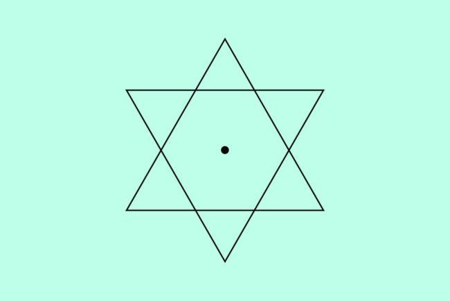 簡略化した立立体の真横からの図。六芒星。